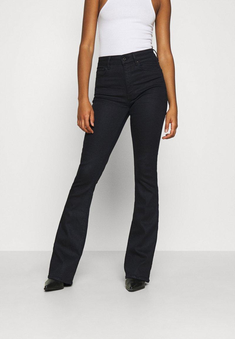 G-Star - 3301 HIGH FLARE - Flared Jeans - black metalloid cobler