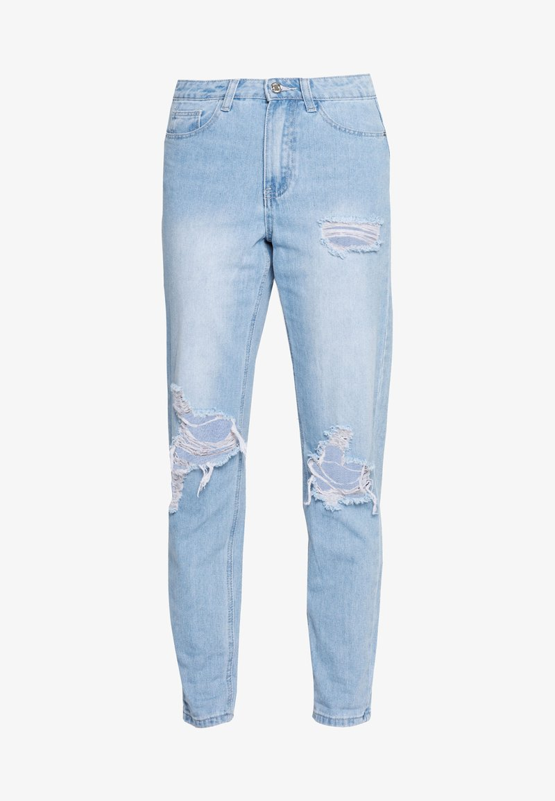 Missguided - RIOT HIGHWAISTED ROLL KNEE MOM - Relaxed fit jeans - lightwash