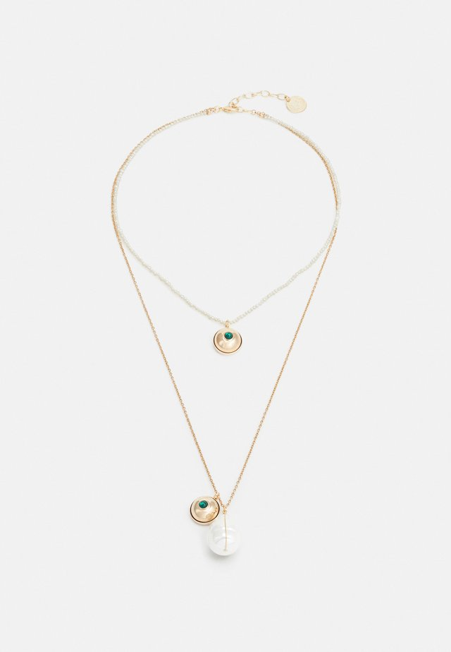 DOUBLE CHAIN HALF PENDANT - Halsband - green/gold-coloured