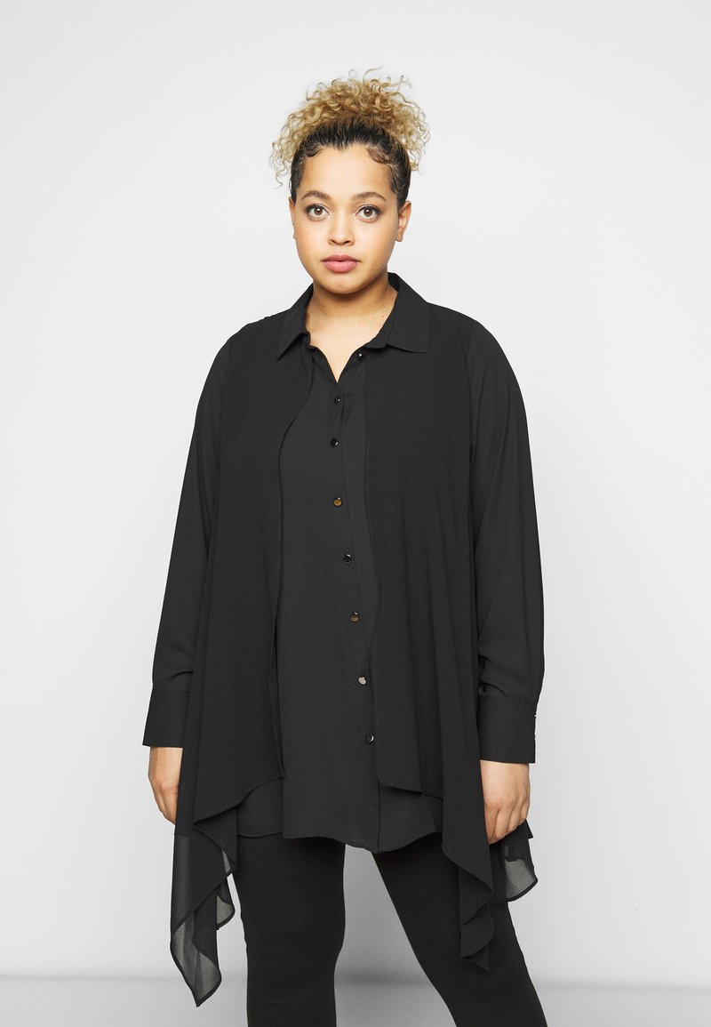 Evans - OVERLAY - Button-down blouse - black