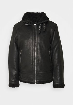 AUSTIN - Leather jacket - black