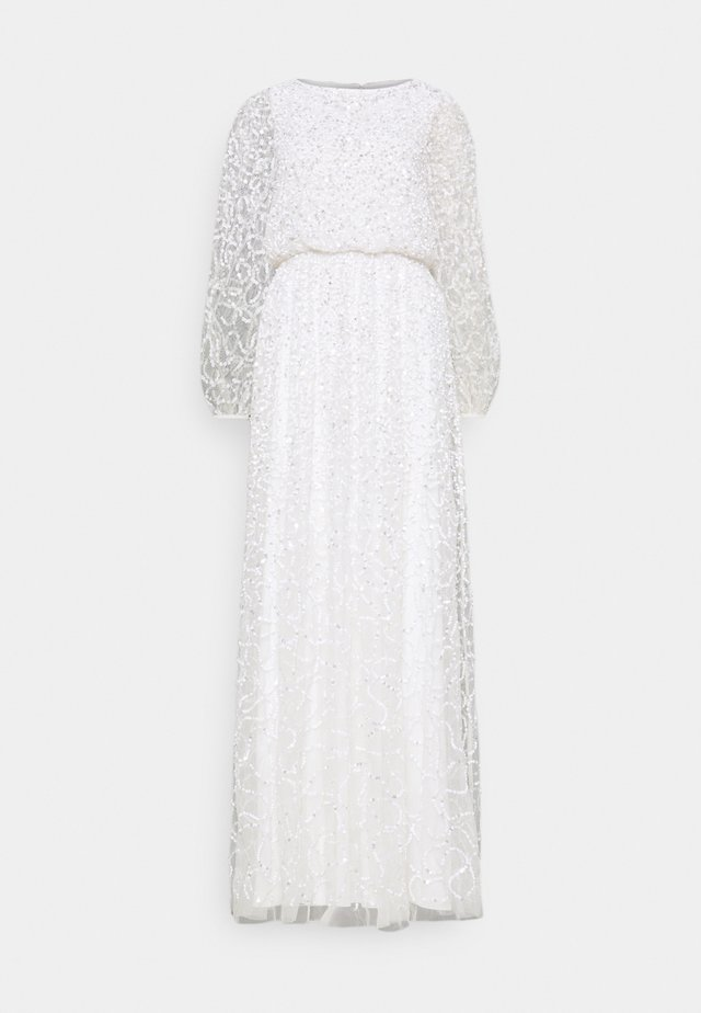 WAIST ALL OVER EMBELLISHED DRESS - Abito da sera - white