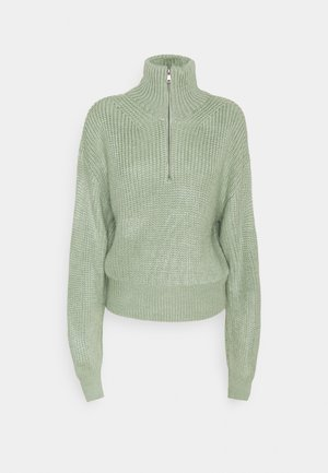 FISHERMAN ZIP UP - Sweter - sage