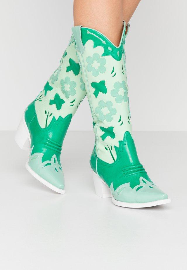 LOONEY - Cowboy- / Bikerboots - green/white