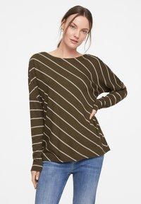comma casual identity - Long sleeved top - khaki diagonal stripes - 0