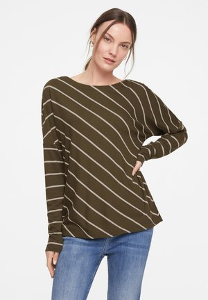 Long sleeved top - khaki diagonal stripes