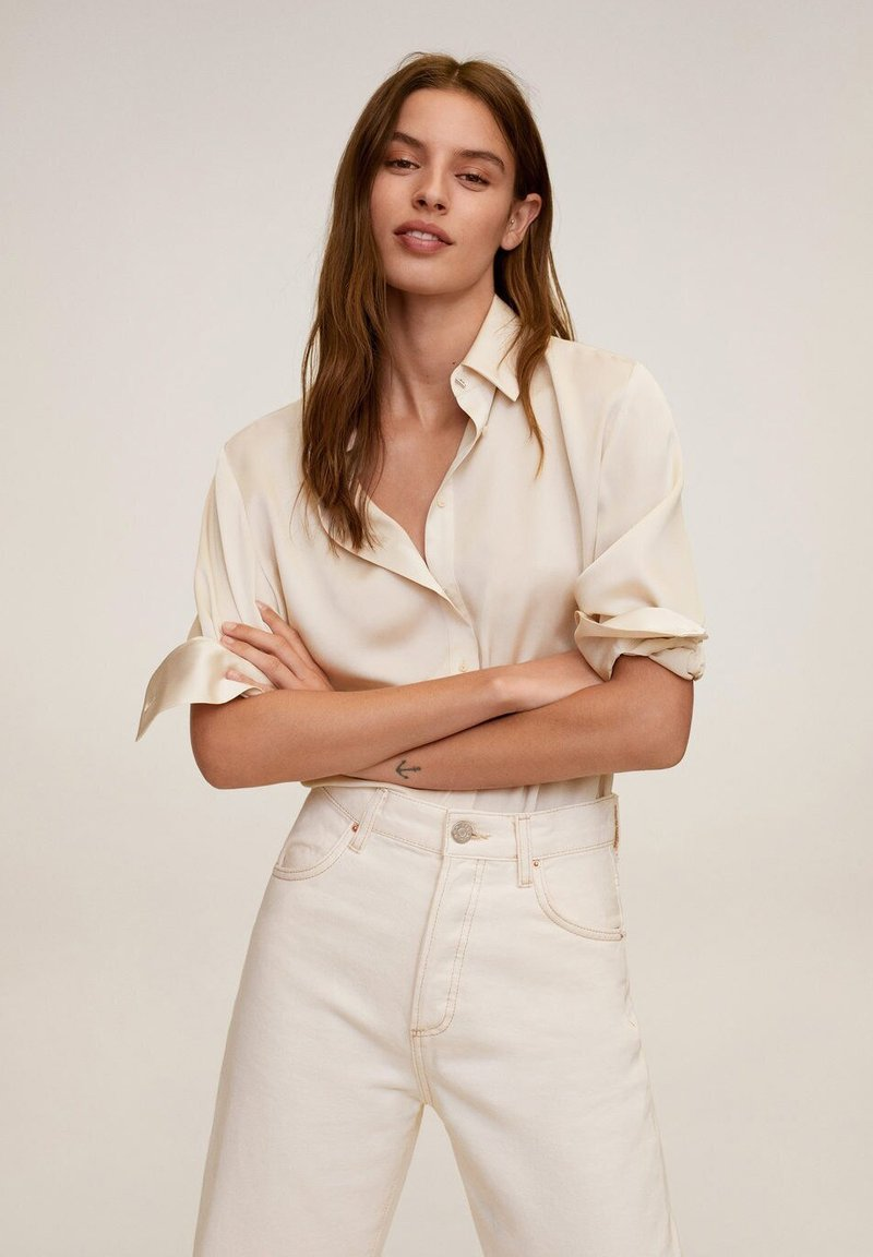 Mango - SATINI - Button-down blouse - ecru