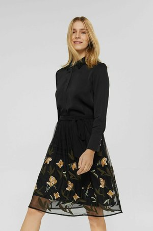 KNITTED - A-line skirt - black