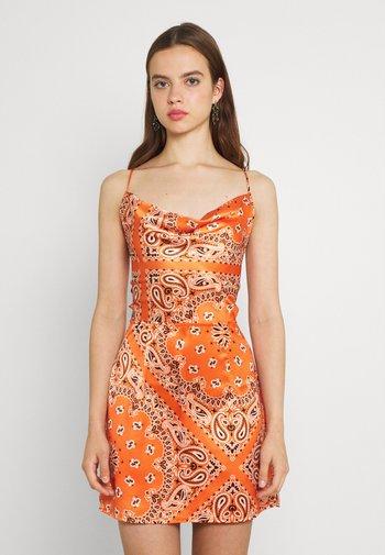 SCARF PRINT COWL NECK MINI DRESS - Cocktail dress / Party dress - orange