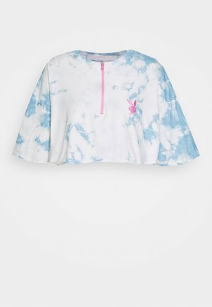 PLAYBOY TIE DYE ZIP THROUGH CROP - Triko s potiskem - blue