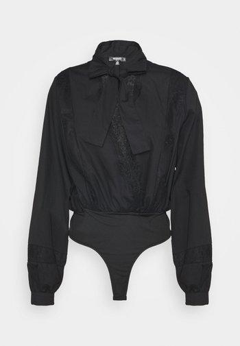 INSERT PUSSY BOW BODYSUIT - Bluser - black