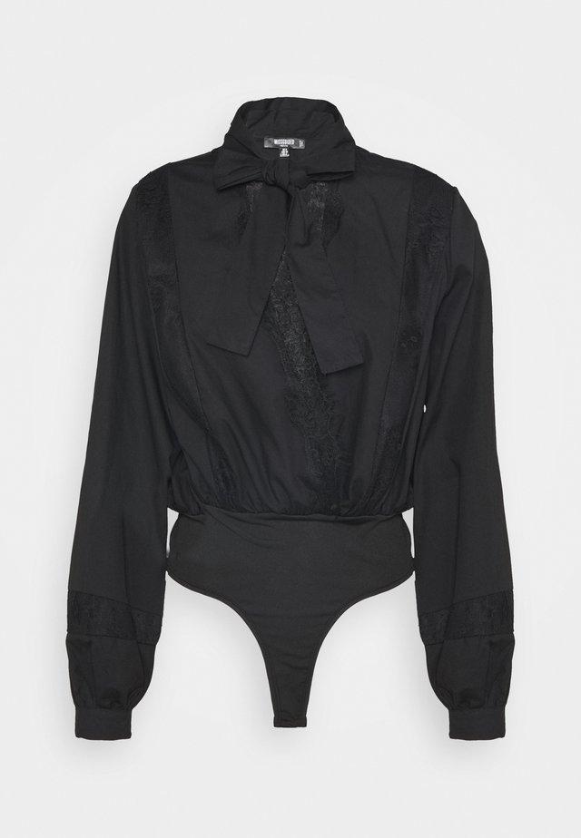 INSERT PUSSY BOW BODYSUIT - Bluzka - black