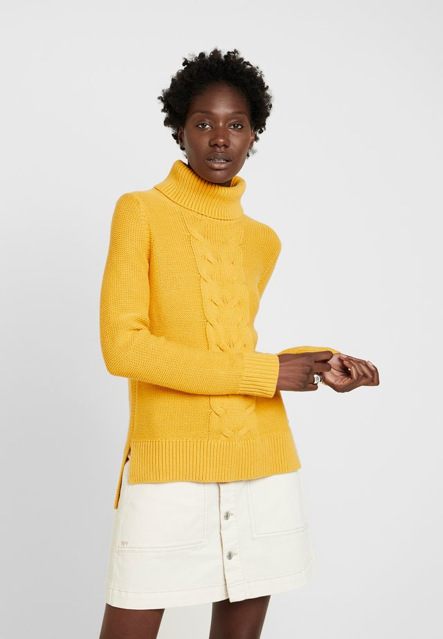 CABLE ROLL NECK - Pullover - honey yellow