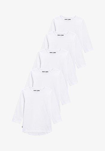 FIVE PACK - Maglietta a manica lunga - white