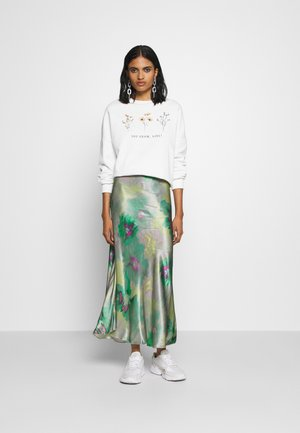 FLOWER  PRINTED SWEATER - Felpa - white