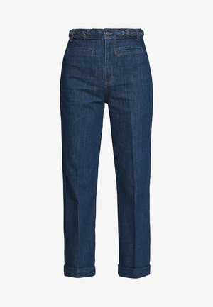 GARBO CROPPED BRAID PANTS - Straight leg jeans - blue