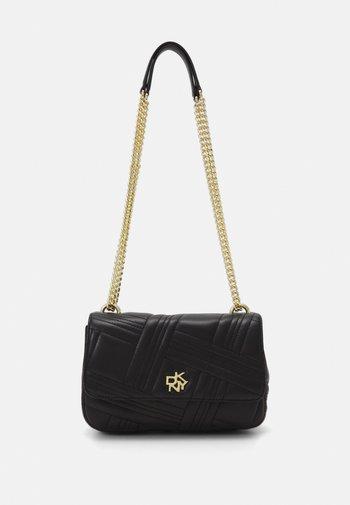 VIVIAN DOUBLE FLAP SHOULDER - Across body bag - black/gold-coloured