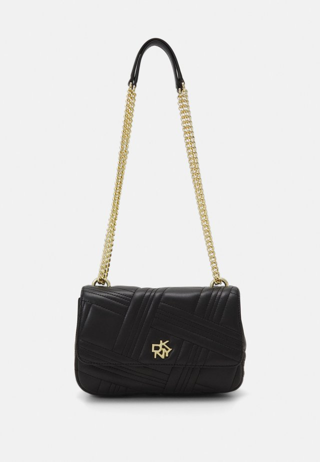 VIVIAN DOUBLE FLAP SHOULDER - Skulderveske - black/gold-coloured
