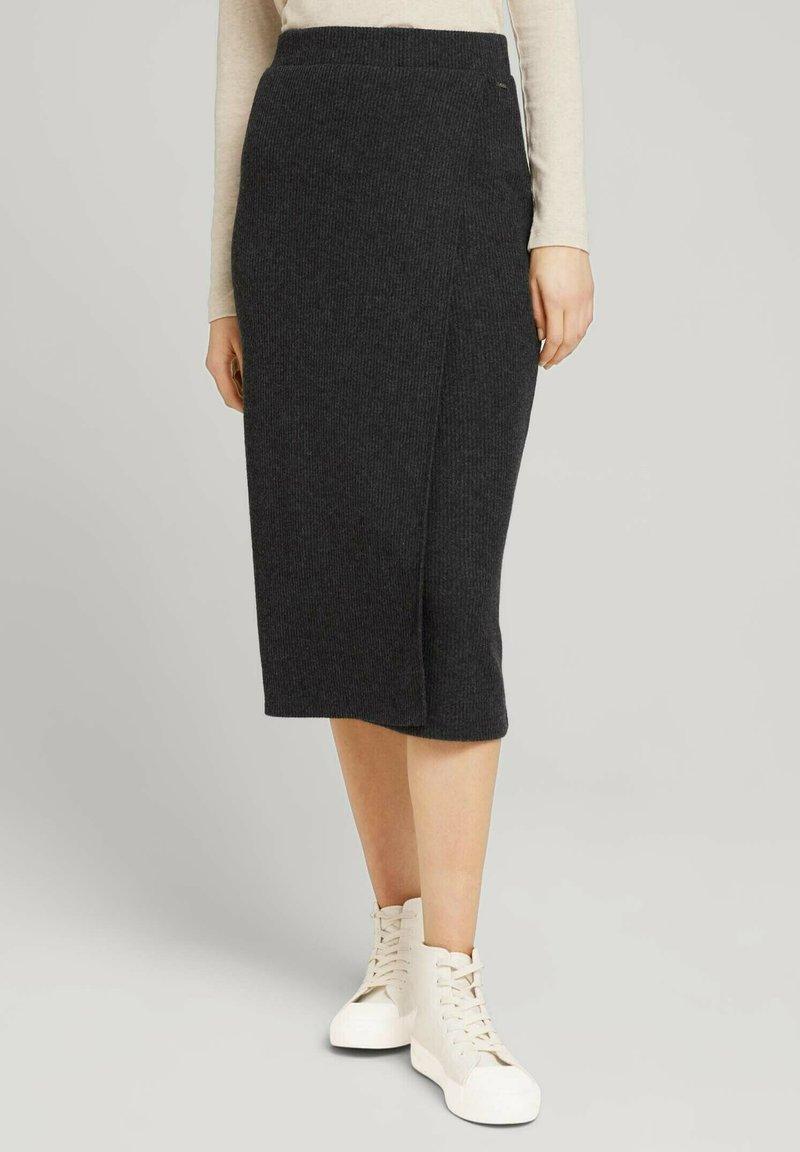 TOM TAILOR DENIM - Wrap skirt - mottled grey