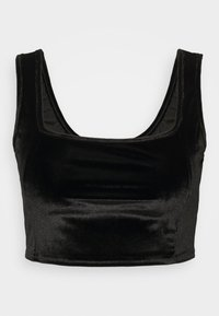 CROP WITH WIDE STRAPS AND SQUARE NECKLINE CO-ORD - Top - black velvet