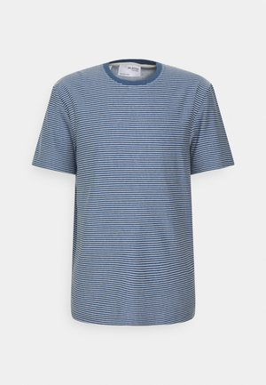 SLHRELAXTRISTAN STRIPE O NECK  - Print T-shirt - federal blue/egret