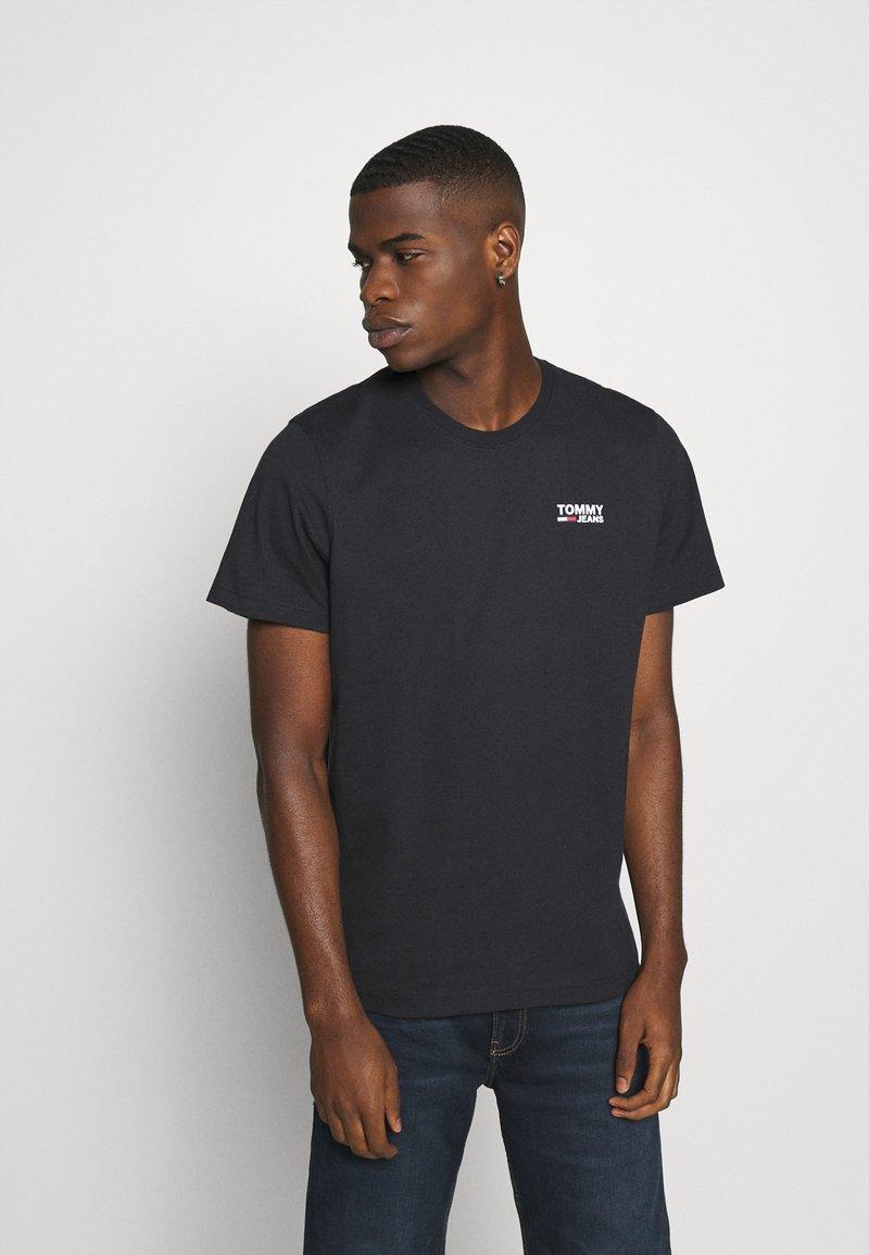 Tommy Jeans - REGULAR CORP LOGO CNECK - Basic T-shirt - black