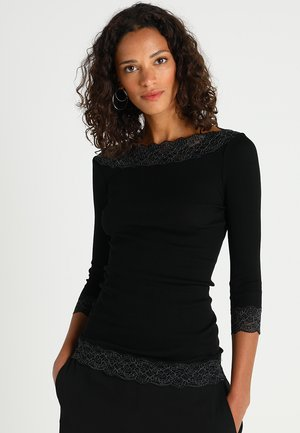 SILK-MIX T-SHIRT REGULAR 3/4 S W/LACE - Long sleeved top - black