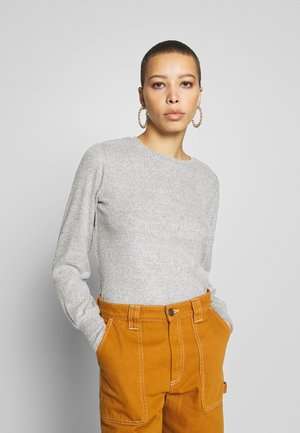 BRUSHED RIB PUFF SLEEVE CUFF TOP - Strikkegenser - grey marl