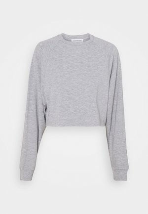 BASIC - Raw hem - Mikina - mottled light grey