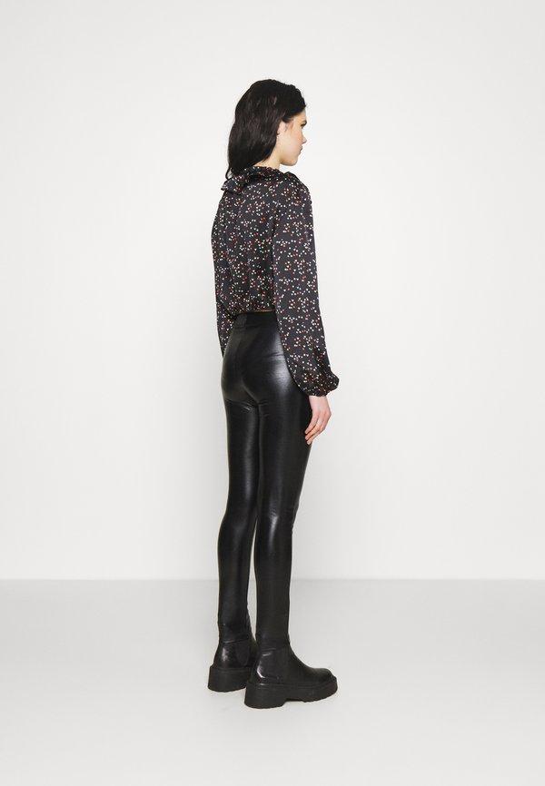 Topshop STAR & HEART TIE FRONT - Bluzka - black/multi-coloured/wielokolorowy QNAM
