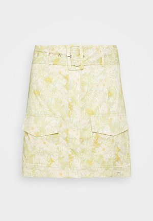 BELTED MINI SKIRT WITH POCKET DETAIL - Miniskjørt - yellow