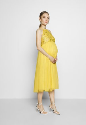 HALTER NECK DELICATE MIDI DRESS - Vestido de cóctel - lemon