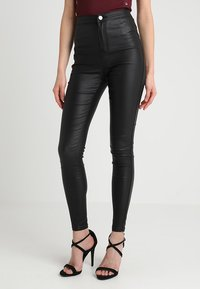 Missguided - VICE HIGH WAISTED  - Kalhoty - coated black - 0