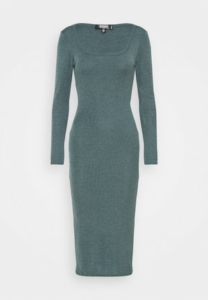 SQUARE NECK SIDE SPLIT MIDI DRESS - Maxikjole - green