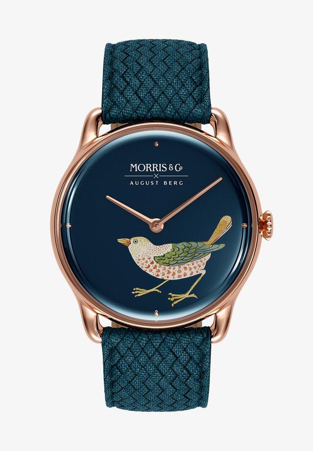 UHR MORRIS & CO ROSE GOLD BIRD INDIGO PERLON 38MM - Horloge - indigo
