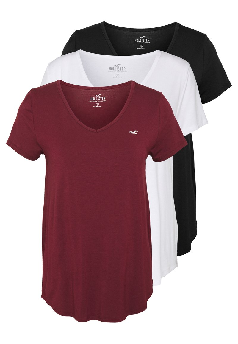 Hollister Co. - EASY BASIC 3 PACK - Basic T-shirt - white/black/burg