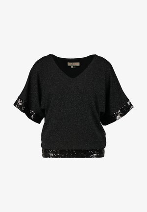 GLITTER SEQUIN TRM BATWING - T-shirts med print - black