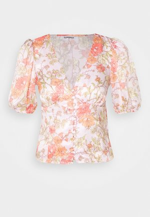 BUTTON FRONT BLOUSE WITH 1/2 SLEEVES AND V-NECK - Camicetta - peach