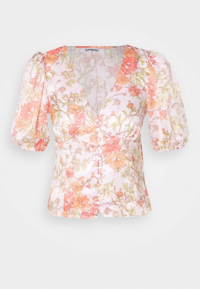 BUTTON FRONT BLOUSE WITH 1/2 SLEEVES AND V-NECK - Blouse - peach