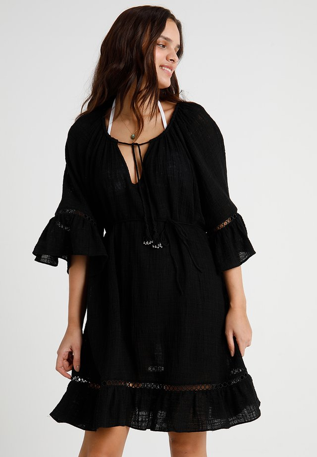 STRIPE BELL SLEEVE COVER UP - Beach accessory - black