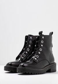 ONLY SHOES - ONLBOLD LACE UP BOOTIE - Lace-up ankle boots - black - 4