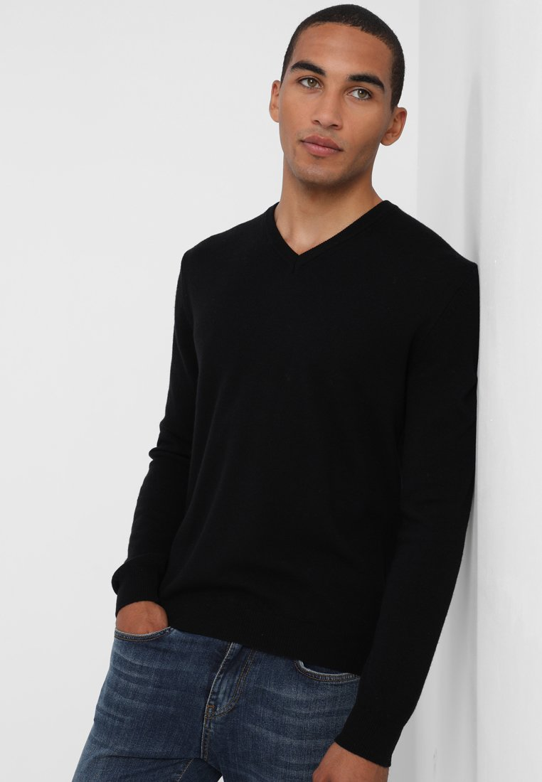 Benetton - BASIC V NECK - Stickad tröja - black