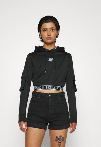 CARGO CROPPED HOODIE - Sweatshirt - black