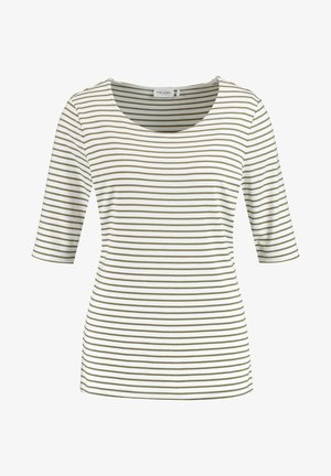 1/2 ARM GERINGELTES - T-shirt imprimé - grün/ecru/weiss streifen