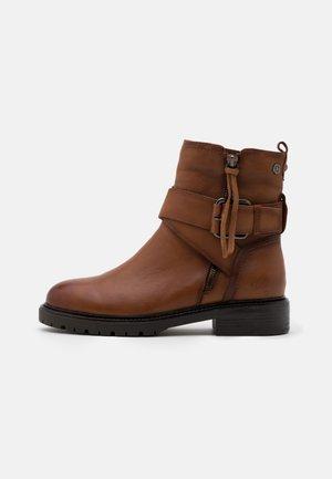 LADIES - Cowboy/biker ankle boot - camel