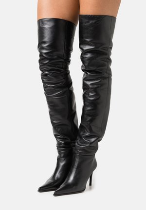 TIA THIGH POINT BOOT - Kozačky nad kolena - black