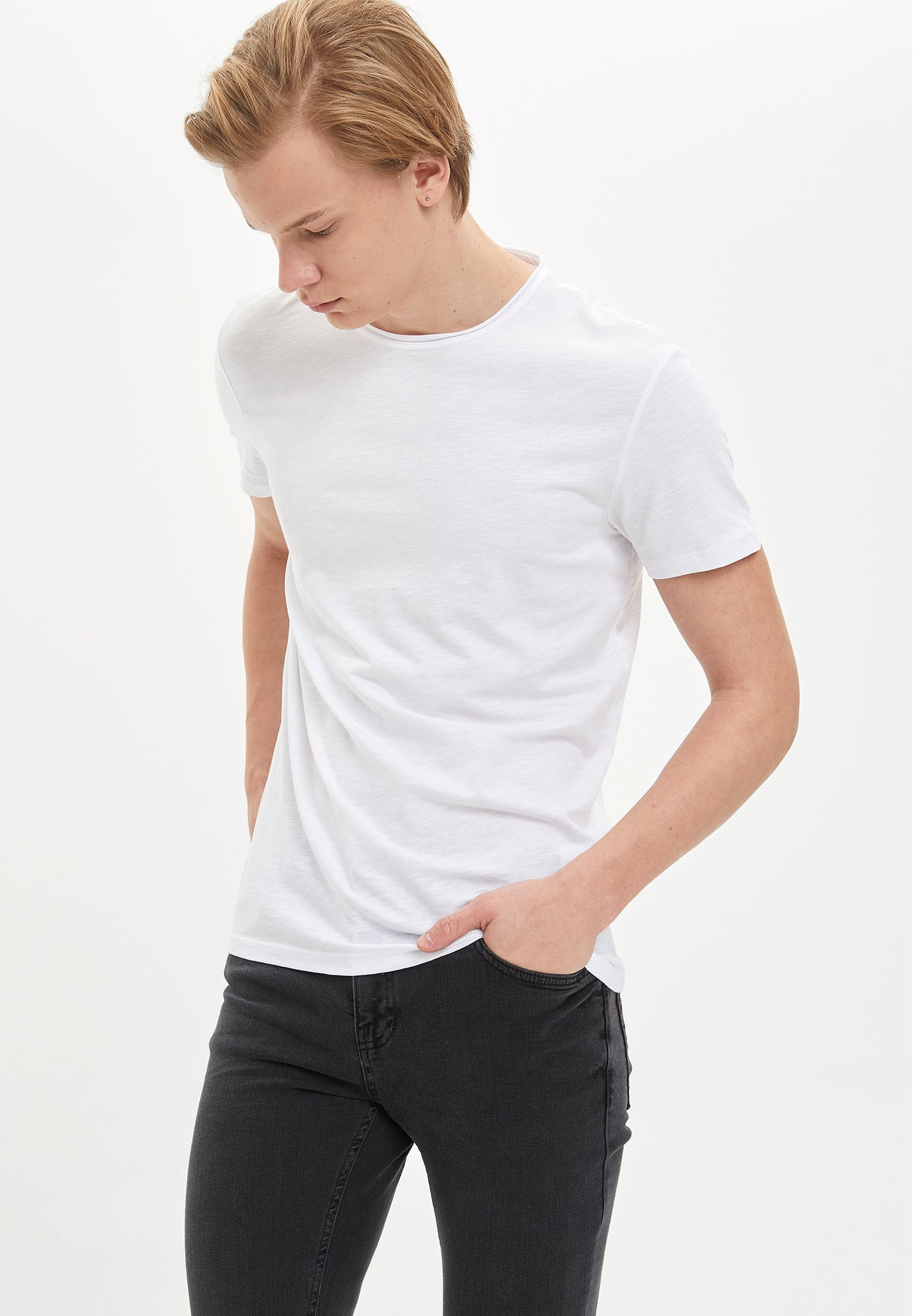 DeFacto Basic T-shirt - white M6vrD