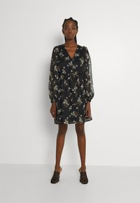 Vero Moda - VMFRAYA V NECK BALLOON DRESS - Shirt dress - black - 0
