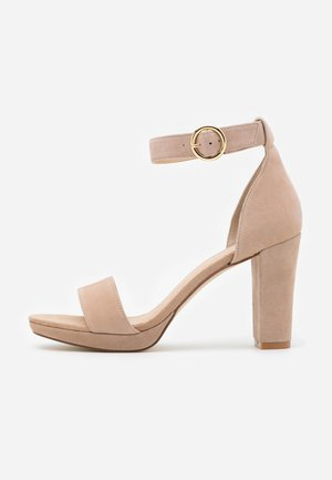 LEATHER - High heeled sandals - beige