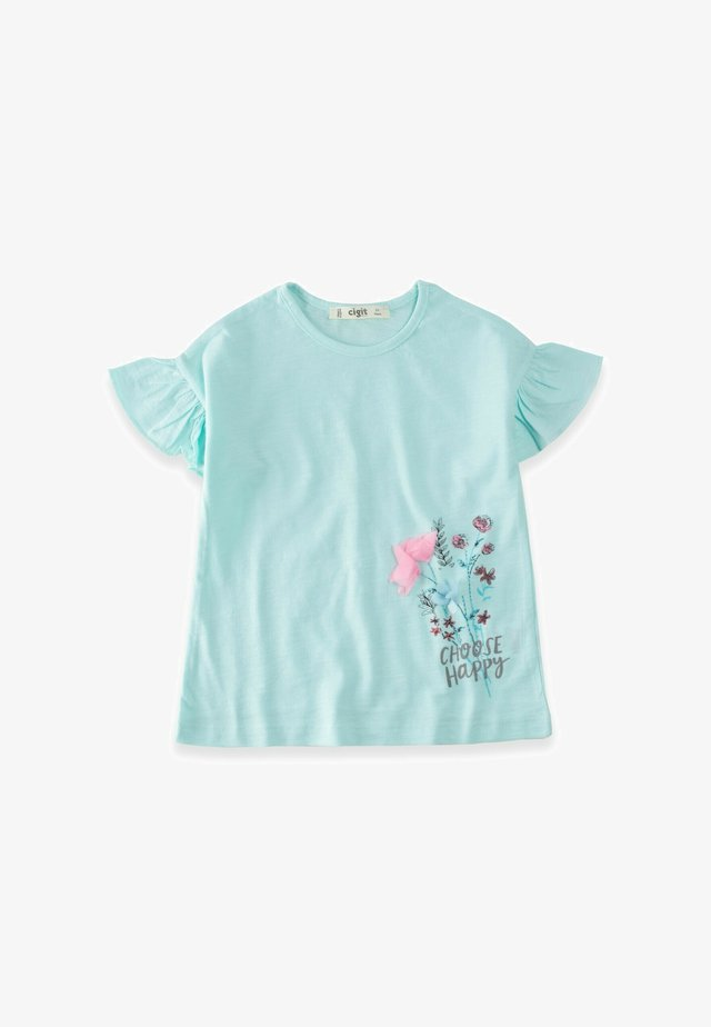 CHOOSE HAPPY  - T-shirt con stampa - turquoise